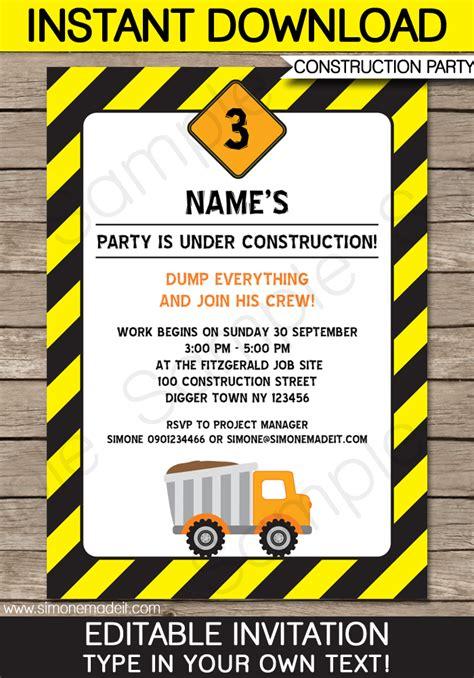 construction themed birthday card template construction invitations template birthday