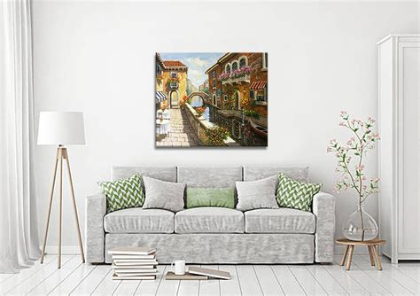 hand painting colorful venice town oil painting large