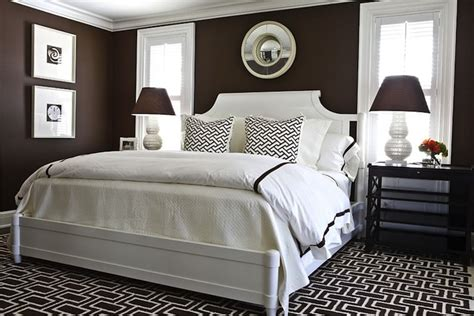 brown walls transitional bedroom benjamin moore