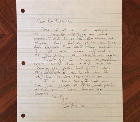 Apology Letter To Parents Apology Letter From A Franco Resurfaces Years After House Egging Incident Huffpost