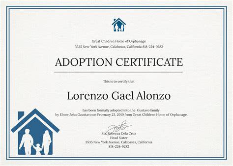 templates for adoption certificates free adoption certificate template in psd ms word