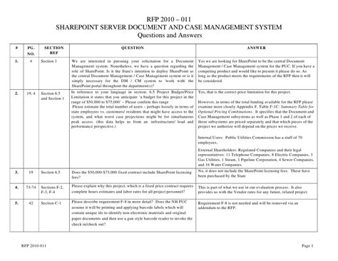 rfp 2010 011 sharepoint server document and case