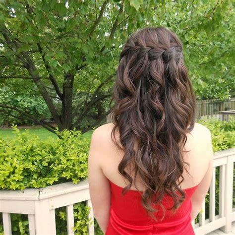 down hairstyles tumblr waterfall braid curly hair down hair pinterest prom