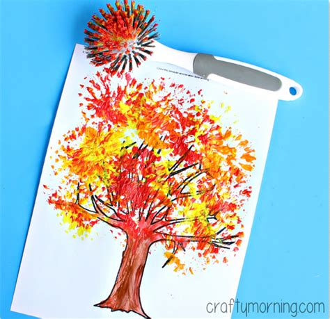 tree crafts fall tree craft using a dish brush crafty morning