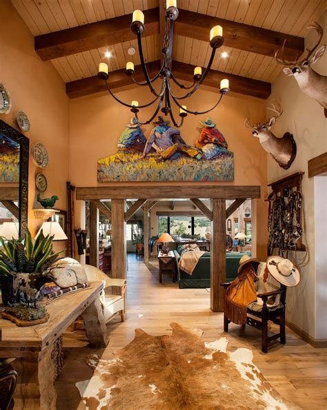 Western Home Interior Cowboy Decoration Ideas Entry Southwestern With Hardwood Flooring Cowboy Western Fabric Vaulted