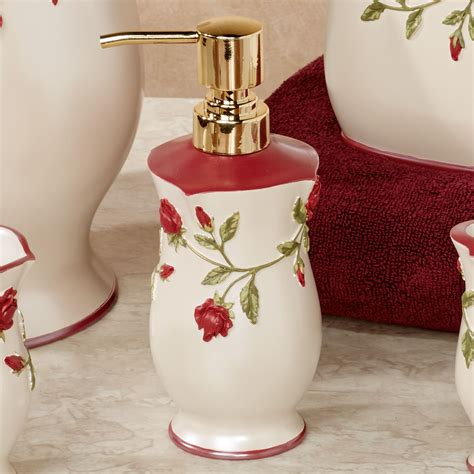 red rose bathroom accessories vining rose red floral bath accessories