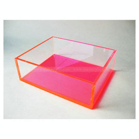 Acrylic Neon Box clear neon pink acrylic display box lucite cosmetics shadow organizing craft box buy pink