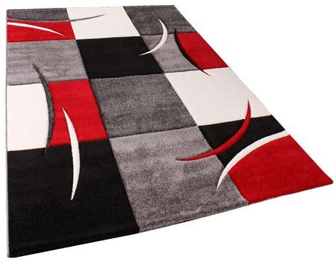 teppich rot schwarz weiß designer teppich mit konturenschnitt karo muster rot