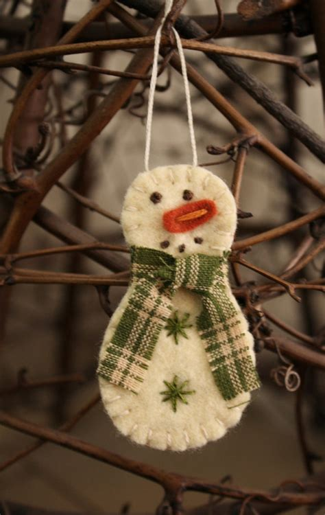 Handmade Snowman Ornaments - items similar to tiny snowman felt brooch or ornament