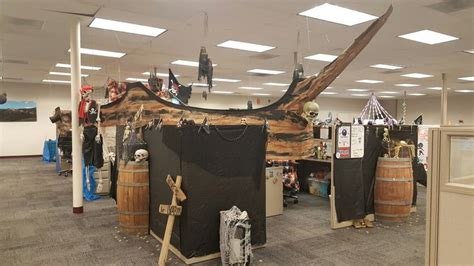 pirate ship built   pod  cubicles halloween  holiday office decor