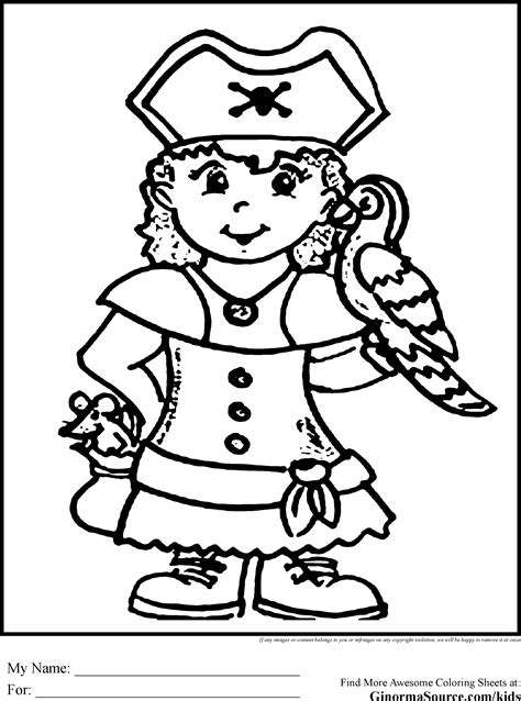 Girl Pirate Coloring Page Coloring Home Pirate Color Pages
