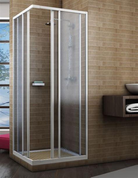 piatto doccia angolare 65x65 box doccia acrilico 2 lati apertura scorrevole opaco