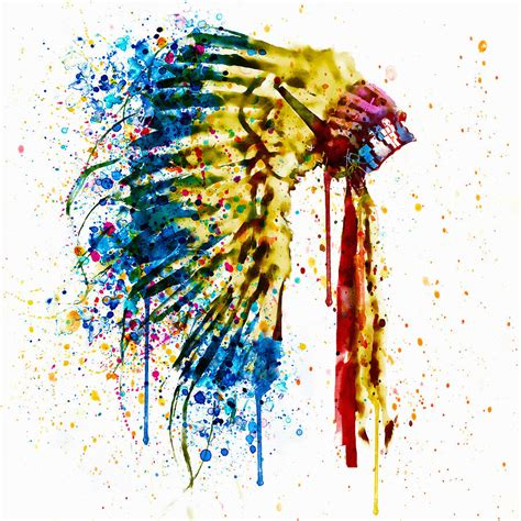 native american feather headdress mixed media by marian voicu