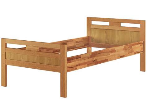 hohes einzelbett massivholzbett seniorenbett buche natur 100x200 einzelbett