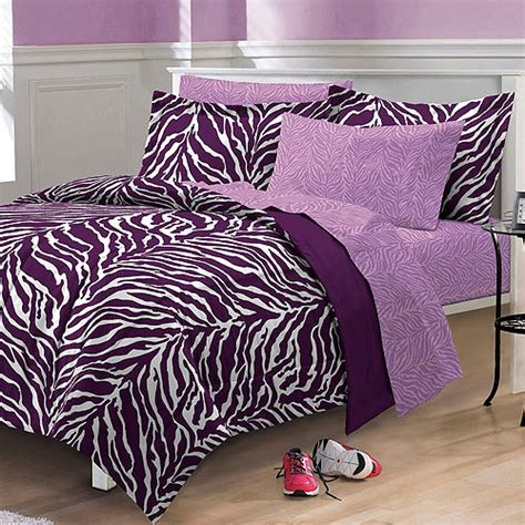 Purple Zebra Bed Set My Room Zebra Complete Bed In A Bag Bedding Set Purple Walmart