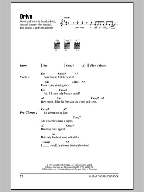 drive incubus lyrics drive sheet music by incubus lyrics chords 153202