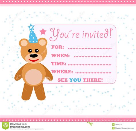 birthday invitation cards in invitation card with teddy stock illustration