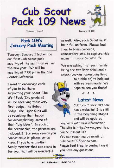 cub scout pack newsletter template pack 109 s newsletters
