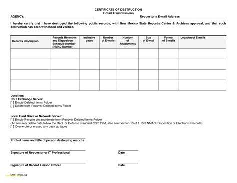 Brilliant Ideas Of Certificate Of Destruction Form Also Fresh Certificate Of Destruction Drive Certificate Of Template