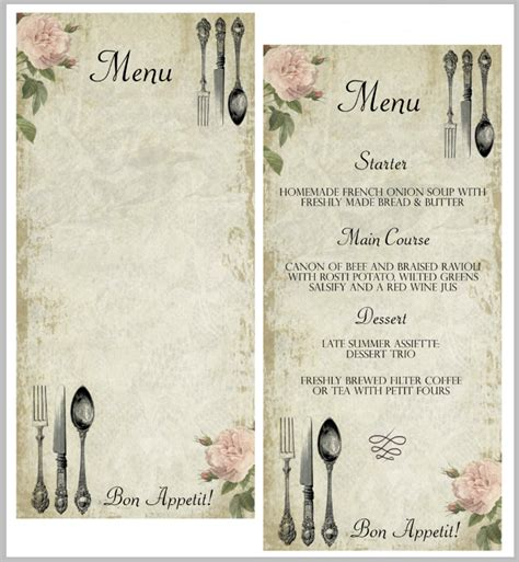 vintage menu template 29 blank menu templates editable psd ai format