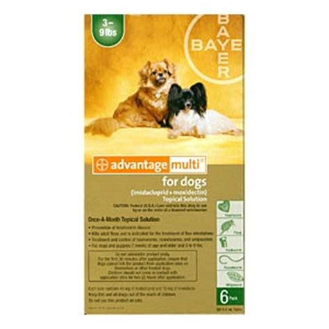 advantage multi for dogs 6 pack advantage multi for dogs 3 9 lbs 6 month green supply vetdepot
