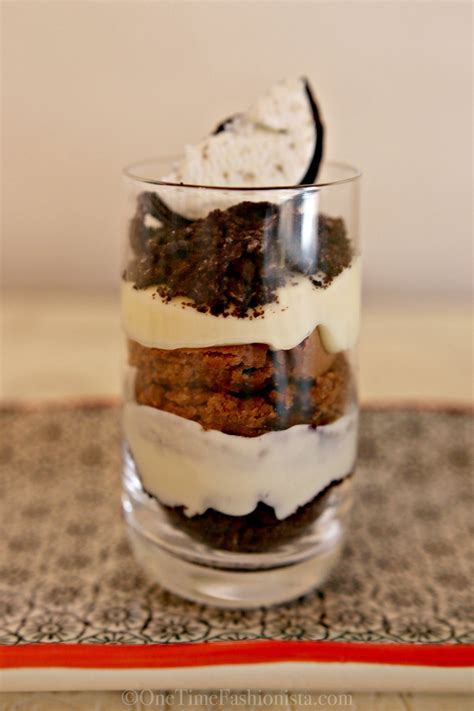 dessert in a shot glass layered oreo cheesecake chocolate brownie onetimefashionista