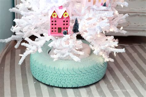 recycled tire christmas tree base lolly jane