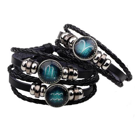 zodiac signs bracelet  constellation mens bracelets beaded handmade charm leather bracelet