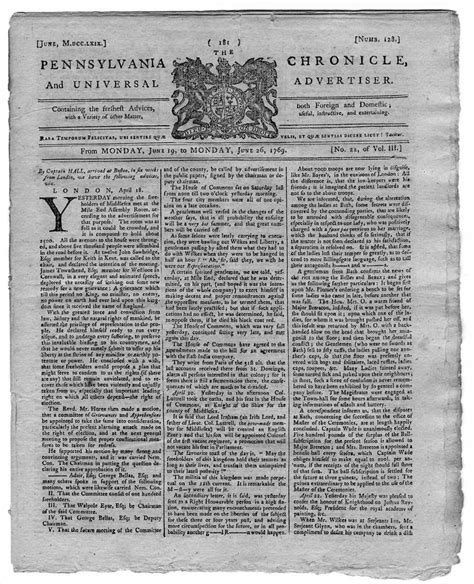 colonial newspaper template pennsylvania chronicle 1769 colonial newspaper detroit ebay