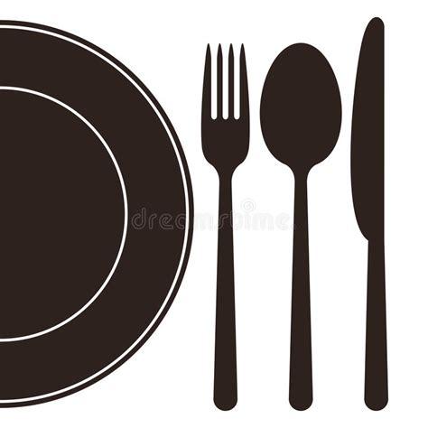 clipart pranzo piatto forchetta cucchiaio e coltello illustrazione