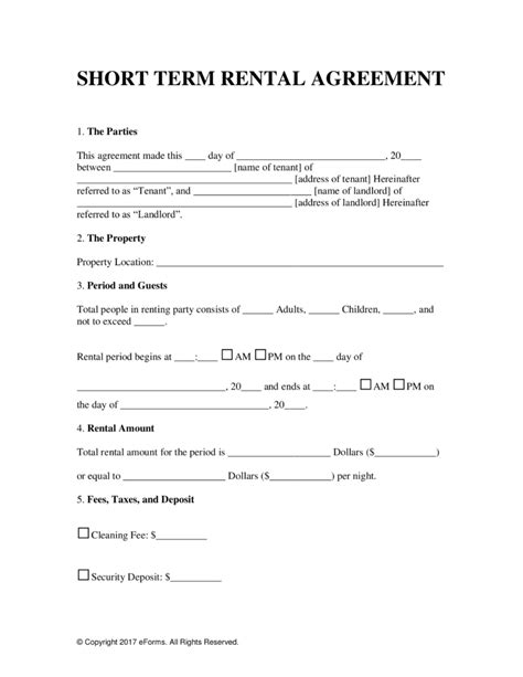 Weekly Rental Agreement Template by Free Vacation Term Rental Lease Agreement Word