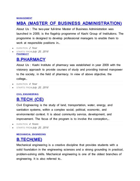 Integrated Mba Course Detail by Kashi Institute Varanasi Course Detail