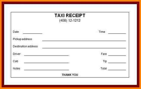 blank taxi receipt template blank taxi cab receipt pdf images