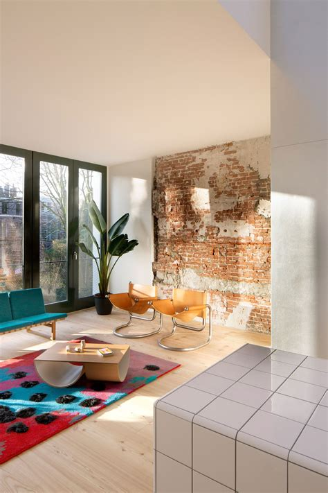 rotterdam house  exposed brick walls  industrial