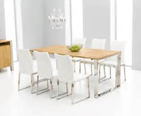 Dining Table And Chairs White Roseta Oak Chrome Dining Table Oak Furniture Solutions