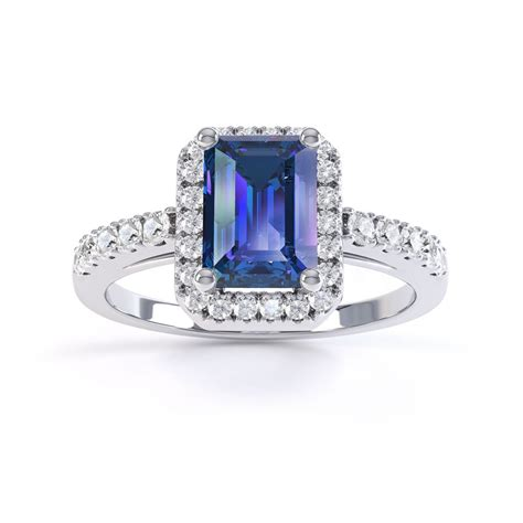 Emerald Cut by Princess Sapphire And Emerald Cut Halo Platinum