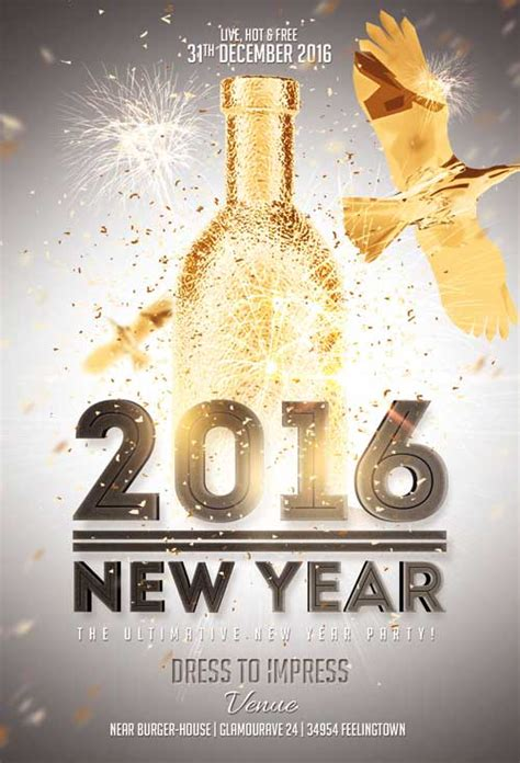 free new years flyer template new year gold vol 2 flyer template awesomeflyer