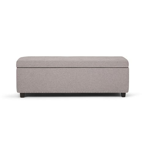 grey ottoman bench simpli home hamilton cloud grey large storage ottoman bench 3axcot 239 clg the home depot