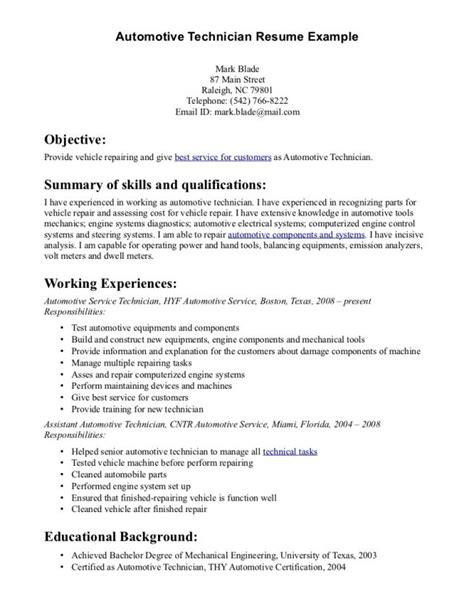 Automotive Collision Repair Sle Resume by Auto Technician Resume Resume Ideas