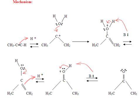 hydration mechanism 9 4 hydration of alkynes chemistry libretexts
