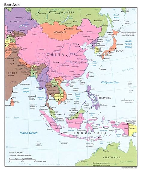 map of all of asia detailed political map of east asia with capitals 1995