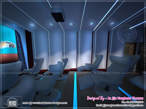 home theater  spillover space interiors kerala home