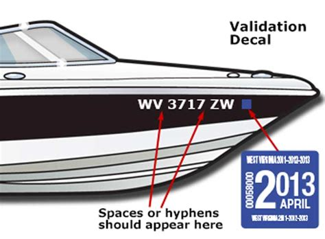wv boat registration displaying the registration number and validation decals