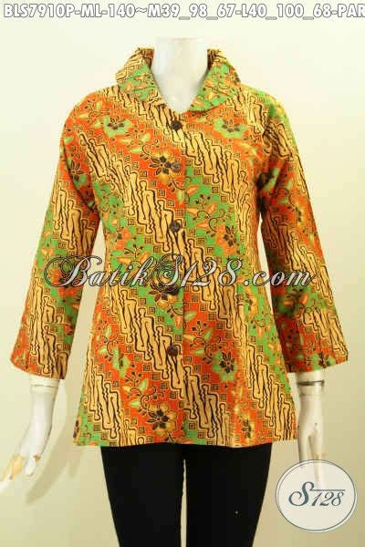 Baju Batik Resmi Elegan blus batik elegan baju batik berkelas pakai ofneisel di krah dan lengan pakaian batik kerja