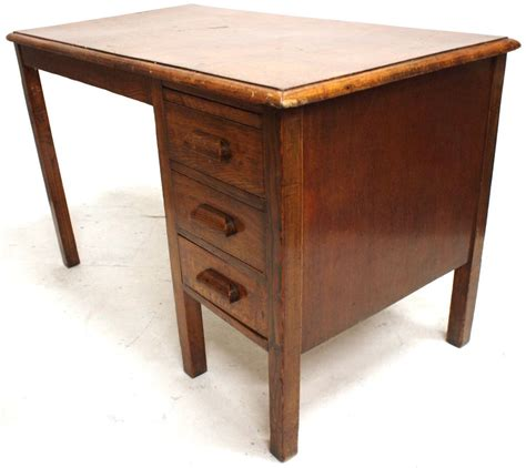 Vintage Oak Desk With Drawers Retro Office Furniture Ebay Vintage Office Desks