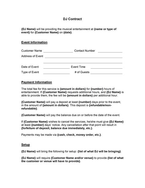 Dj Contract Template Contract Template
