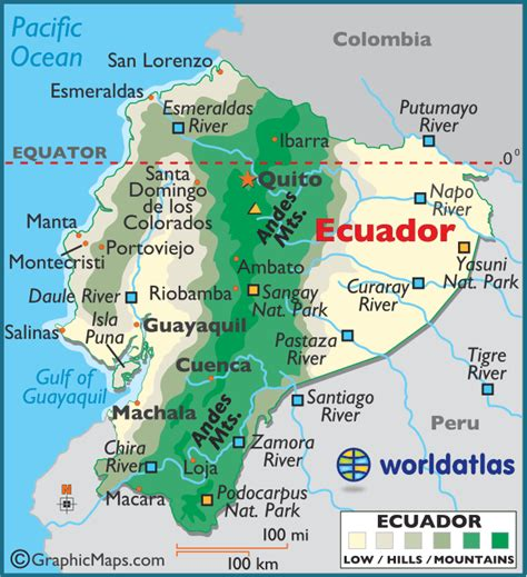printable road map of ecuador ecuador large color map