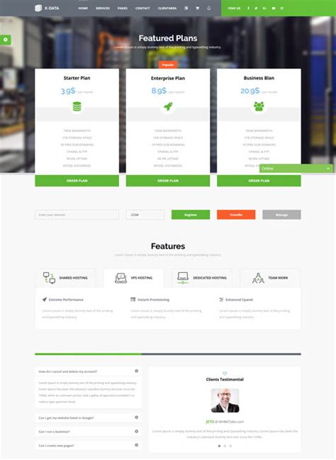 50 best hosting website templates free premium