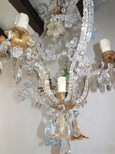 Colored Chandelier French Crystal Beaded Murano Flowers Colored Chandelier