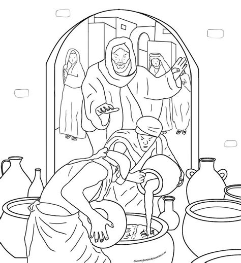 Wedding At Cana Coloring by Wedding At Cana Coloring Page Az Coloring Pages